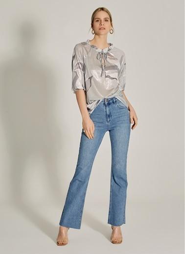 NGSTYLE Simli Kumaşlı Desenli Bluz Gri